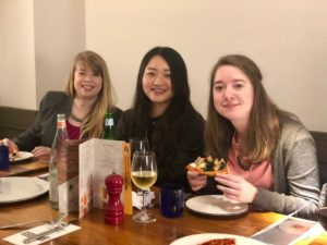Enjoying dinner with Qiqi Deng (middle), M.S. in Accounting 2017.
