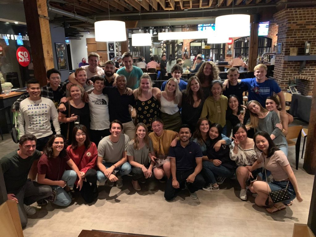 students at a brewery