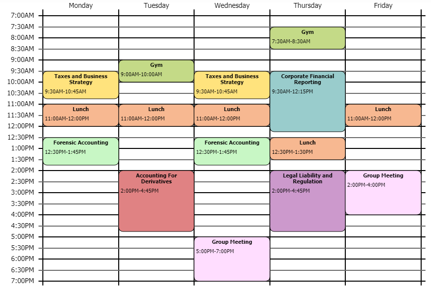 screenshot of Teddy's schedule for the fall semester