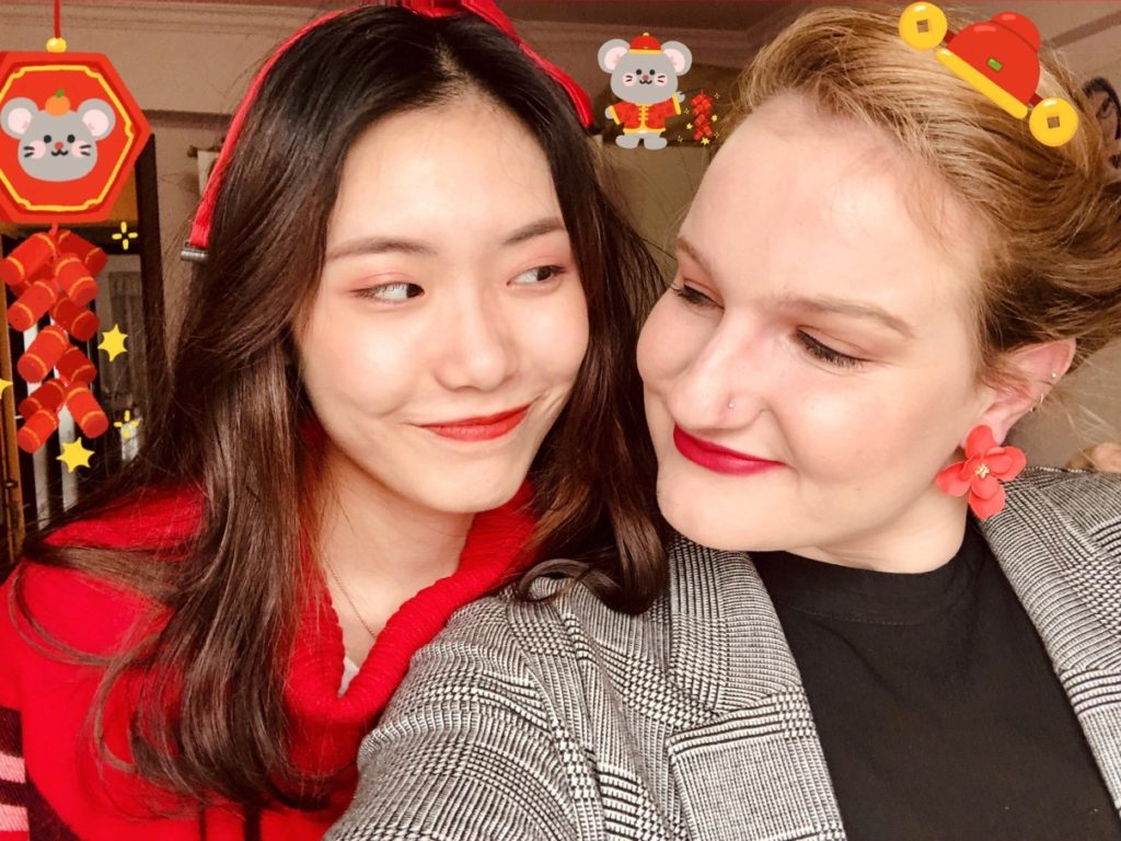 Smiling and wearing red for the Chinese New Year