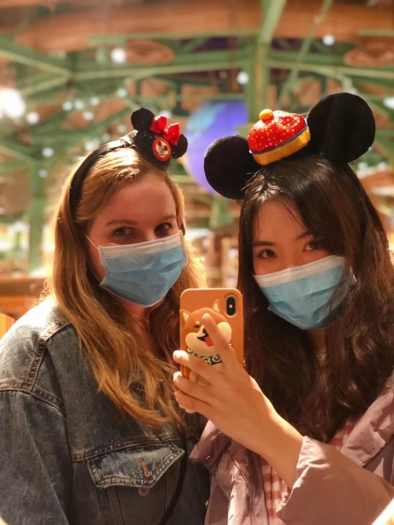 wearing masks to protect themselves from germs