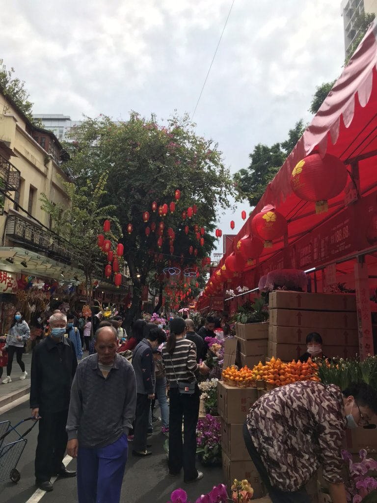 streets of Guangzhou decorated for Chinese New Year