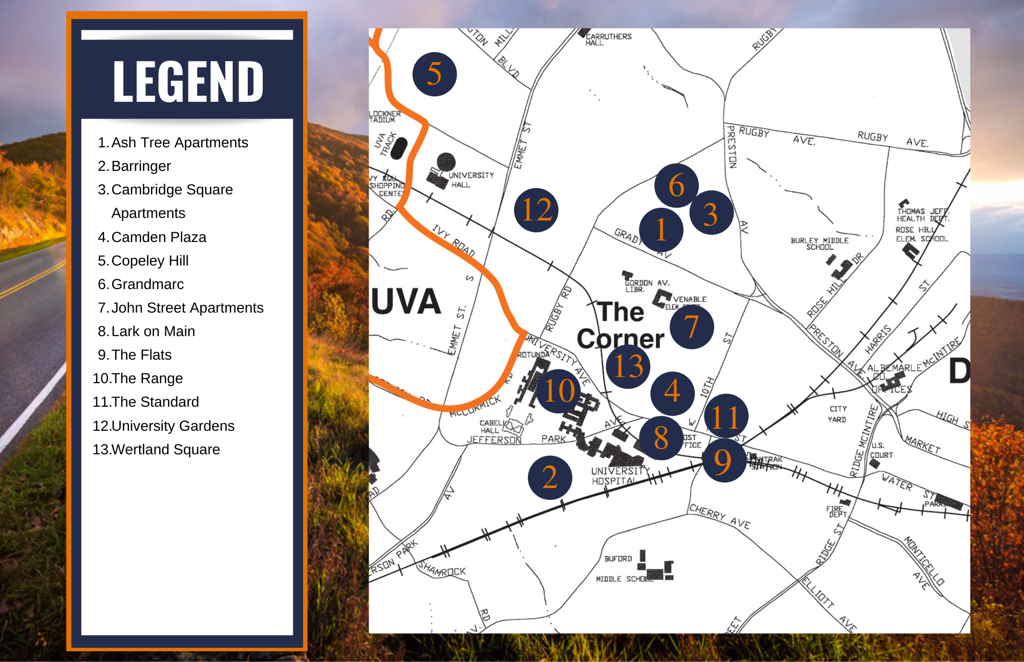 map of housing options in Charlottesville