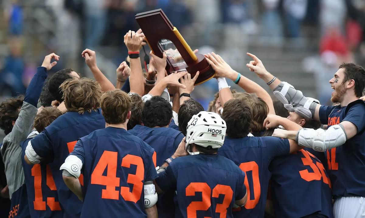 lacrosse team celebrates NCAA championship win